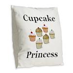 Cupcake Princess Burlap Throw Pillow
