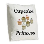 Cupcake Princess Burlap Throw Pillow