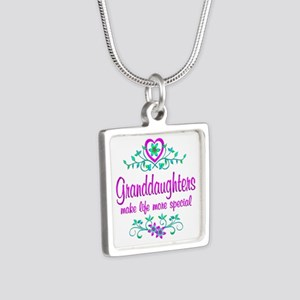 Special Granddaughter Silver Square Necklace