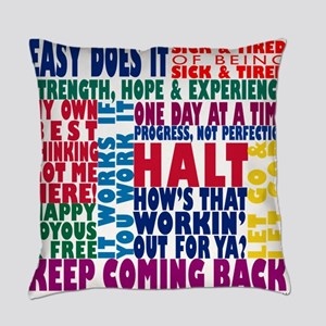 AA 12-Step Slogans Everyday Pillow