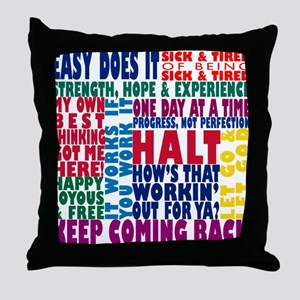 AA 12-Step Slogans Throw Pillow