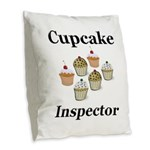 Cupcake Inspector Burlap Throw Pillow