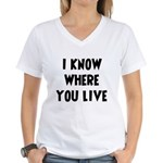KnowWhereYouLive Women's V-Neck T-Shirt