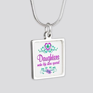 Special Daughter Silver Square Necklace