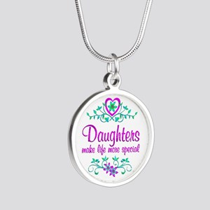 Special Daughter Silver Round Necklace