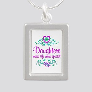 Special Daughter Silver Portrait Necklace