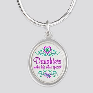 Special Daughter Silver Oval Necklace