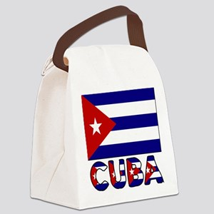 Cuba Flag and Word Canvas Lunch Bag