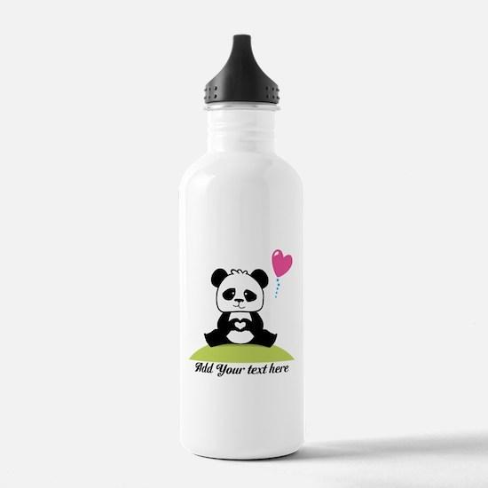 Panda's hands showing Water Bottle