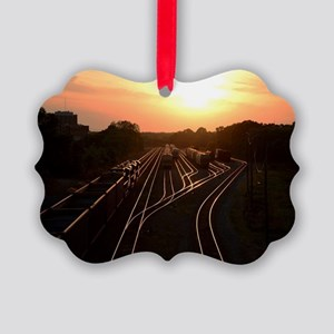 Train at Sunset Picture Ornament