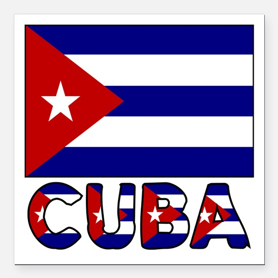 """Cuba Flag and Word Square Car Magnet 3"""" x 3"""""""