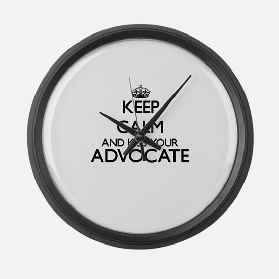 Keep calm and kiss your Advocate Large Wall Clock