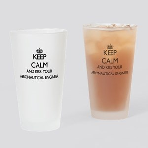 Keep calm and kiss your Aeronautica Drinking Glass