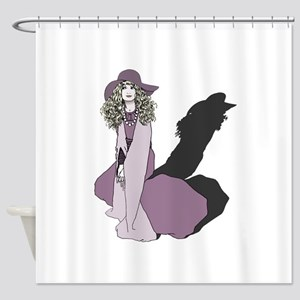 Young Woman in Purple Shower Curtain