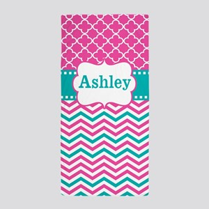 Pink Teal Chevron Quatrefoil Personalized Beach To