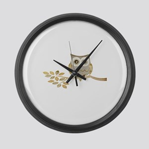 Apothecary Owl Branch 1 copy Large Wall Clock