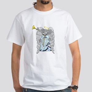 George the Angelephant Christmas/Holiday White T