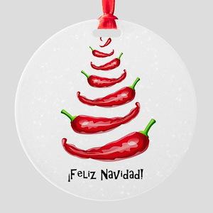 FelizNavidadChiliTree Round Ornament