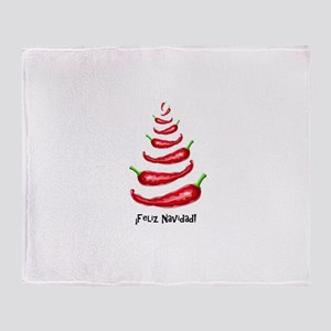 FelizNavidadChiliTree Throw Blanket