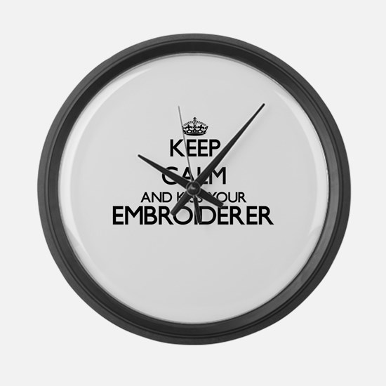 Keep calm and kiss your Embroider Large Wall Clock
