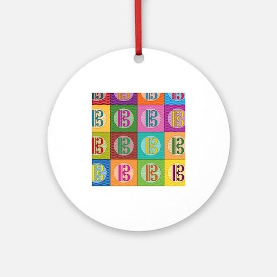 Pop Art C-Clef Alto Clef Ornament (Round)