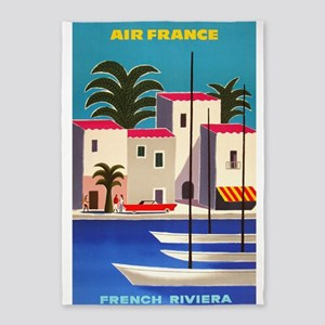 Vintage Air France Poster; French 5'x7'area Rug