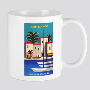 Vintage Air France Poster; French Riviera Mugs