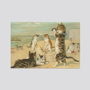 Cats at the Beach, Vintage Art Poster Magnets