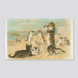 Cats At The Beach, Vintage Art Poster Area Rug