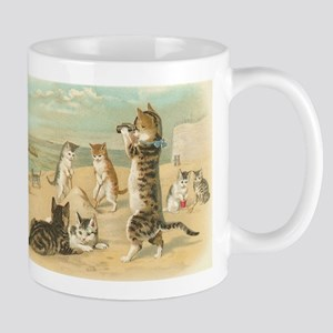 Cats at the Beach, Vintage Art Poster Mugs