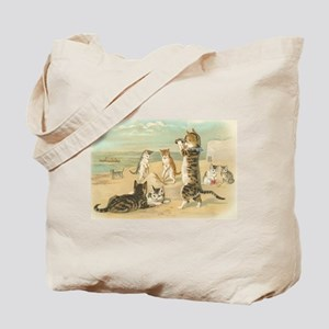 Cats at the Beach, Vintage Art Poster Tote Bag