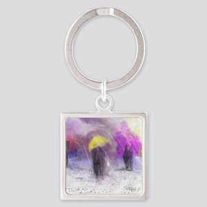 Yellow Umbrella Square Keychain