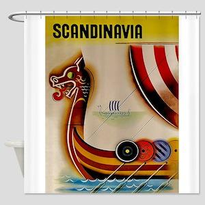 Scandinavia, Viking Ship, Vintage Travel Poster Sh