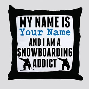 Snowboarding Addict Throw Pillow