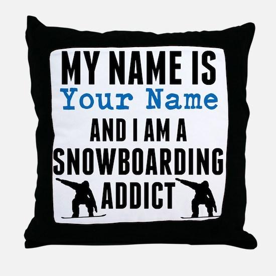 Snowboarding Addict Throw Pillow