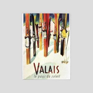 Valais, Switzerland, Ski, Vintage 5'x7'area Rug