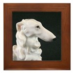 White Borzoi Profile Framed Tile