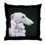 White Borzoi Profile Throw Pillow