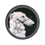 White Borzoi Profile Wall Clock