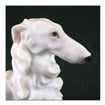 "White Borzoi Profile Square Car Magnet 3"" X 3"
