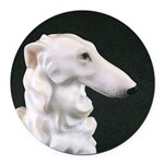 White Borzoi Profile Round Car Magnet
