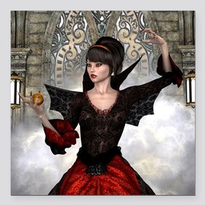 """Beautiful Witch Square Car Magnet 3"""" x 3"""""""