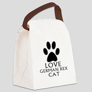 Love German Rex Cat Designs Canvas Lunch Bag
