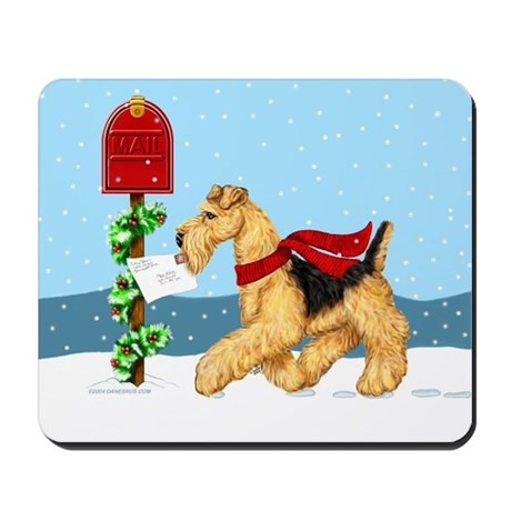 Christmas Airedale Mail Mousepad