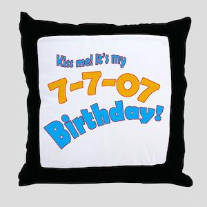 Kiss Me it's My July 7 Birthday Throw Pillow