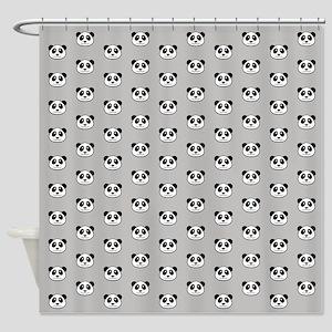 Panda Face Pattern Shower Curtain