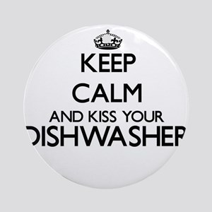 Keep calm and kiss your Dishwashe Ornament (Round)