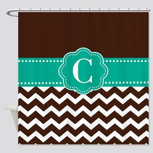 Brown Teal Chevron Monogram Shower Curtain