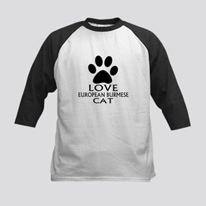 Love European Burmese Cat Design Kids Baseball Tee