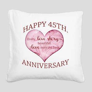 45th. Anniversary Square Canvas Pillow